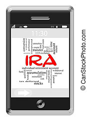 IRA Word Cloud Concept on Touchscreen Phone - IRA Word Cloud...