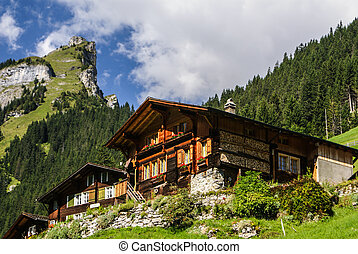 View of the Swiss alps: Beautiful Gimmelwald village,...