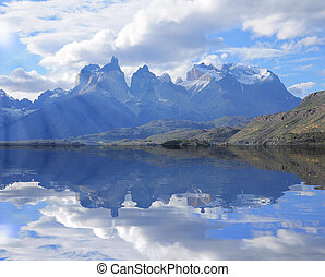 Cuernos del Paine mountains Torres del Paine National park...