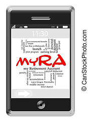 myRA Word Cloud Concept on Touchscreen Phone