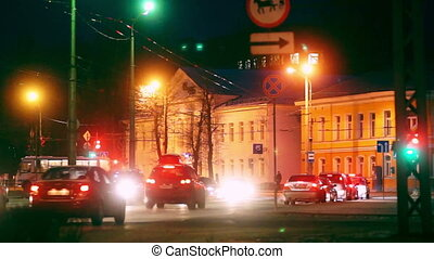 Evening traffic in Russian city, Petrozavodsk -...