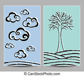Clouds and tree cards - Illustration of clouds and lonely...