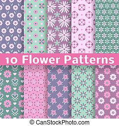 Romantic flower different vector seamless patterns tiling -...