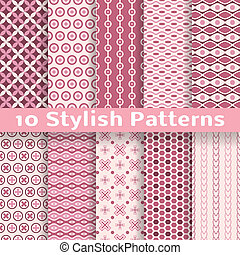 Stylish vector seamless patterns tiling Pink color - 10...