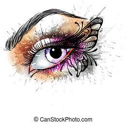 Eye make up with butterfly