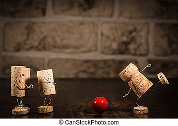 Wine cork figures, Concept Bowling - Concept going bowling...