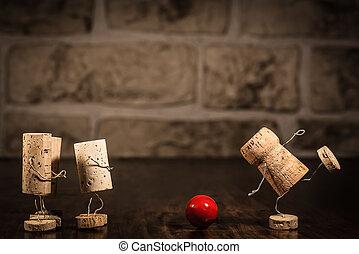 vinho, cortiça, figuras, conceito, boliche