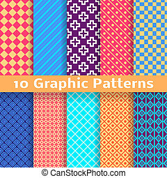 Graphic vector seamless patterns (tiling) - 10 Graphic...