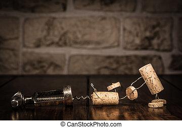 vinho, cortiça, figuras, conceito, fuga, saca-rolhas
