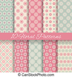 Floral different vector seamless patterns tiling - 10 Floral...