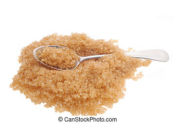 Teaspoon and sugar - Teaspoon in demerara sugar isolated on...