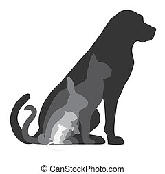 Dog cat rabbit hamster and mouse silhouettes composition
