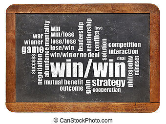 win-win strategy word cloud on a vintage slate blackboard...