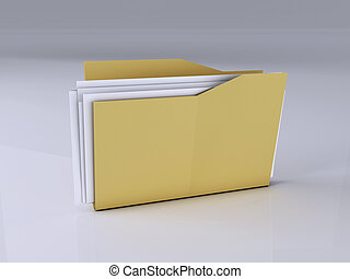 Folder with Files,3D Illustration