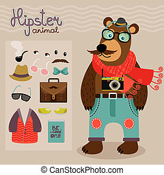 Hipster pack for animal teddy bear - Hipster character pack...