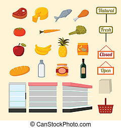 Collection of supermarket food items - Collection of flat...