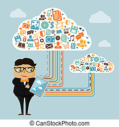 Cloud technologies for business with geek boy holding tablet...