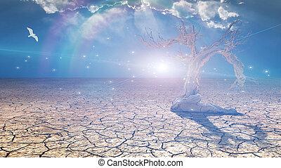 Delightful desert scene with light