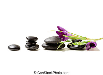 massage stones with flowers on mat - spa, heath and beauty...