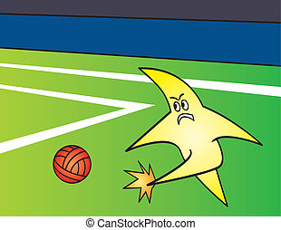Star Kicking Ball - A cartoon star kicking a ball on a...