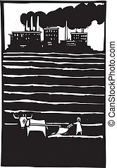 Factory and Farms - Woodcut style image of cranes and...
