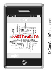 Investments Word Cloud Concept on Touchscreen Phone -...