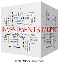 Investments 3D cube Word Cloud Concept with great terms such...
