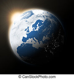 Sun over Europe on planet Earth