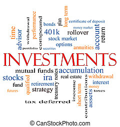 Investments Word Cloud Concept with great terms such as...