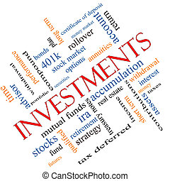 Investments Word Cloud Concept Angled