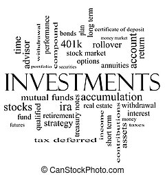 Investments Word Cloud Concept in black and white with great...