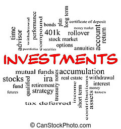 Investments Word Cloud Concept in red caps with great terms...
