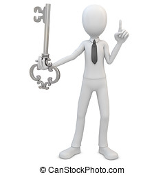 3d man with silver key on white background