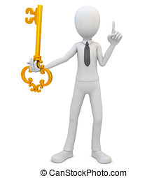 3d man with golden key on white background