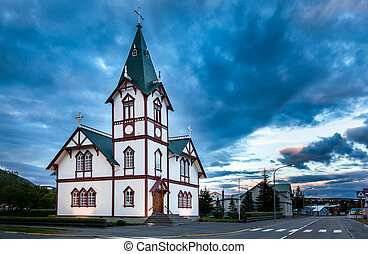 Icelandic church in the little town of Husavik, north...