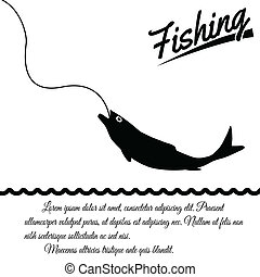 Fishing poster - Fishing design poster on white background...