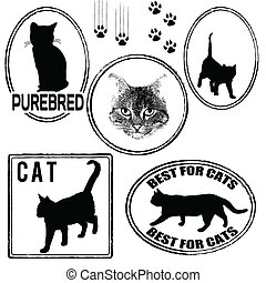 Set of cats stamps
