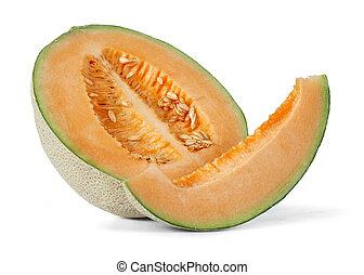 Cantaloupe over white background