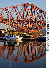 North Queensferry Fife marina - The Forth Rail Bridge seen...