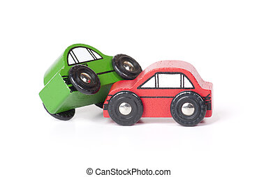Wooden Toy Cars - Wooden toy cars involved in a crash
