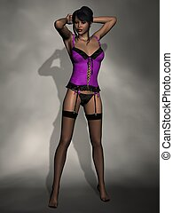Beautiful Women in Lingerie - 3D Render of an Beautiful...