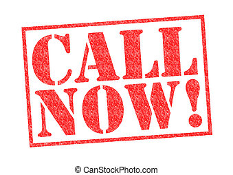 CALL NOW! red Rubber stamp over a white background.