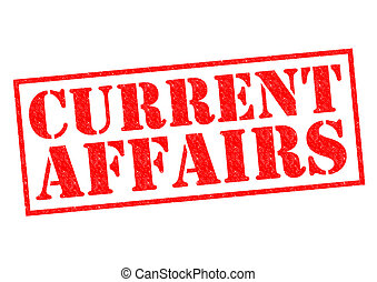 CURRENT AFFAIRS red Rubber Stamp over a white background.