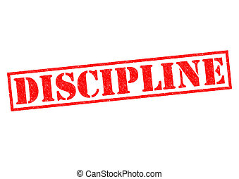 DISCIPLINE red Rubber Stamp over a white background.