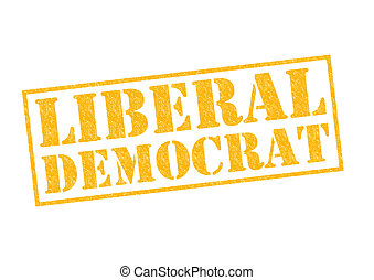 LIBERAL DEMOCRAT yellow Rubber Stamp over a white...