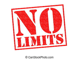NO LIMITS red Rubber Stamp over a white background