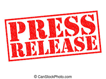 PRESS RELEASE red Rubber Stamp over a white background