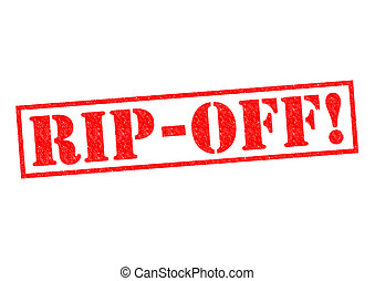 RIP-OFF! red Rubber Stamp over a white background.
