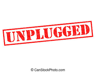 UNPLUGGED red Rubber Stamp over a white background