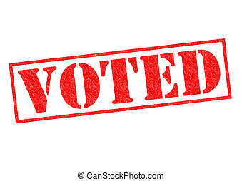VOTED red Rubber Stamp over a white background.